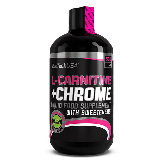 BioTech USA L-Carnitine + Chrome Getränk Birne-Apfel 500 ml Flasche