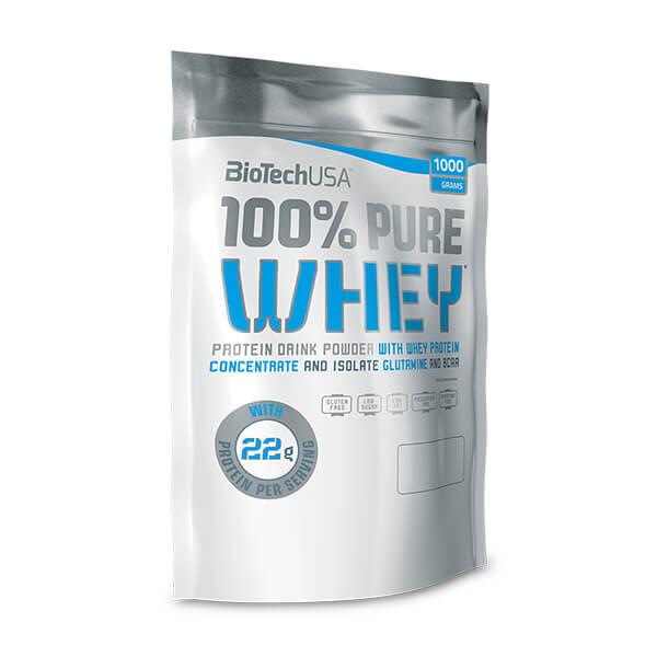 BioTech USA 100% Pure Whey STRAWBERRY ERDBEER 1 kg Beutel. Herzhaftes Proteinpulver im Geschmack Strawberry Erdbeer mit BCAAs.