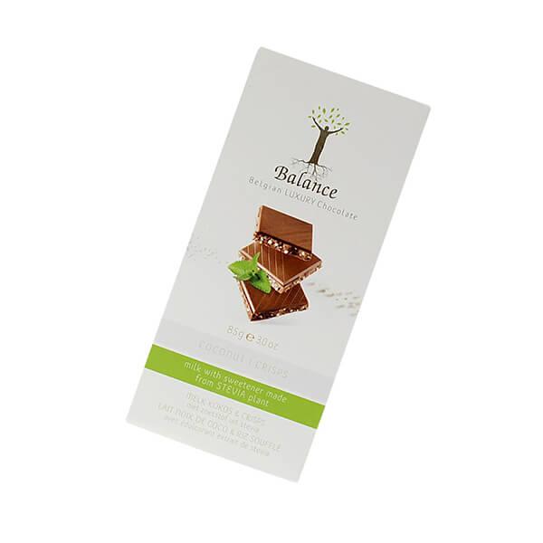 Balance Belgian Luxury Chocolate mit Stevia Milch Coconut Crisp 85 g. Hochwertige Milchschokolade mit Geschmack Coconut Crisp.