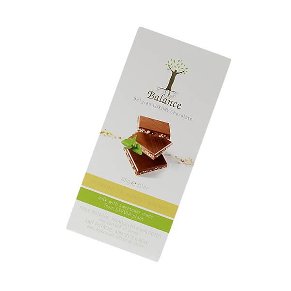 Balance Belgian Luxury Chocolate mit Stevia Milk Pistachio Almond Walnut 85 g. Hochwertige Milchschokolade mit Pistazien, Mandeln und Walnüssen.