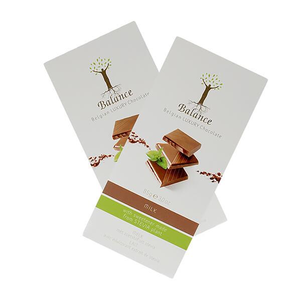 Balance Belgian Luxury Chocolate mit Stevia Milk Vollmilch 85 g. Herzhafte Vollmilchschokolade mit natürlichem Stevia für einen optimalen Genuss.