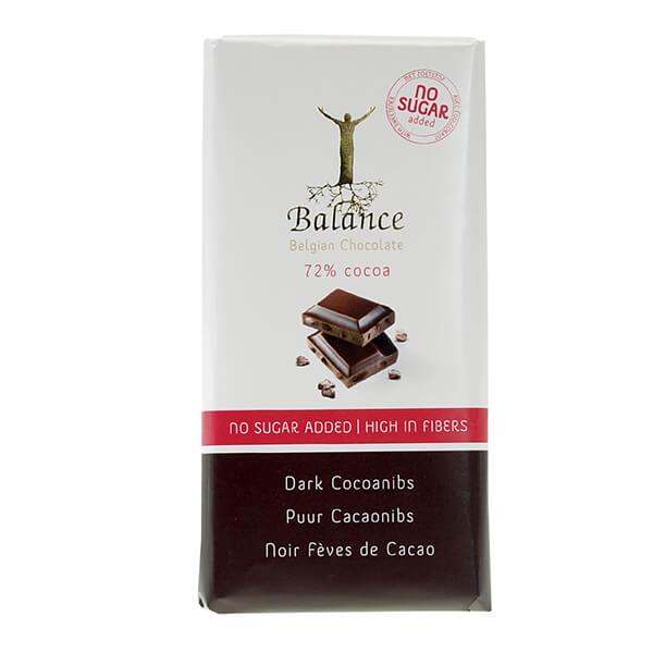 Balance Schokolade Dark Cocoanibs 72% ohne Zuckerzusatz 100 g | feinste Zutaten vermengt mit dem reinsten Kakao und ganz ohne Zusatz von Zucker!