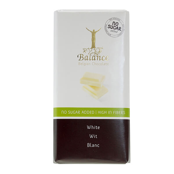 Balance Schokoladentafel Weiss White ohne Zuckerzusatz 100 g | feinste Zutaten vermengt mit dem reinsten Kakao und ganz ohne Zusatz von Zucker!