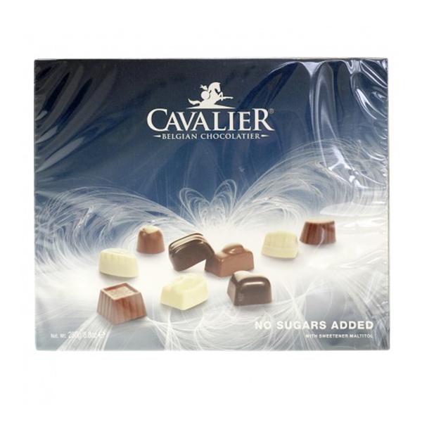 Cavalier Pralinensortiment Maltit ohne Zuckerzusatz 250 g, Schokoladen-Spezialität aus Belgien mit Maltit gesüßt. Weniger als 1,0g Zucker pro Portion.
