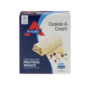 Atkins Cookies & Cream Proteinriegel Minis Multipack 150 g (5 x 30 g). Lecker Proteinsnack für zwischendurch. Köstlicher Geschmack.