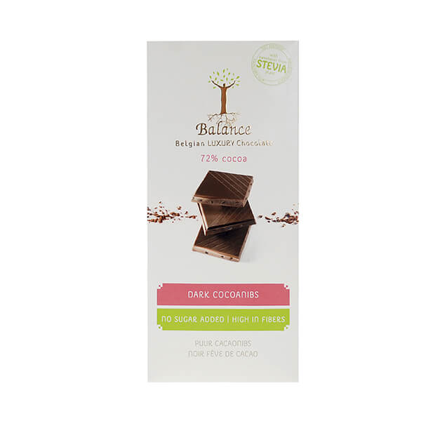 Balance Belgian Luxury Chocolate mit Stevia Dark 72% Cocoanibs 85 g. Dunkle Qualitätsschokolade mit Kakaonibs. Mit wertvollem Stevia gesüßt.