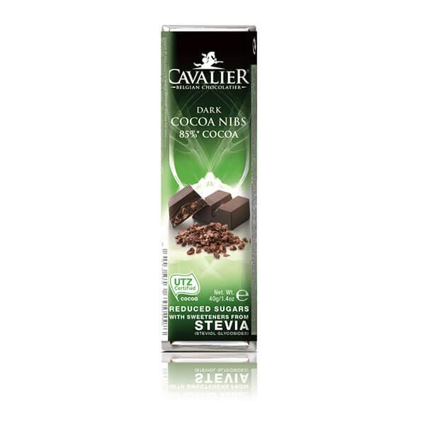 Cavalier Stevia Schokoriegel DARK COCOA NIBS Dunkle Kakaokerne 40 g. Herzhafte Schokolade mit Erythrit und Stevia gesüßt.