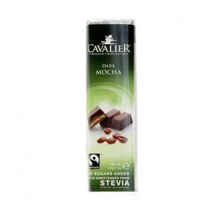 Cavalier Stevia Schokoriegel DARK MOCHA Dunkel Mokka 40 g. Herzhafter, mit Erythrit und Stevia gesüßter, Dunkelschokoladenriegel.