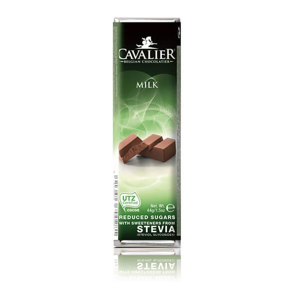 Cavalier Stevia Schokoriegel MILK Milch 44 g. Herzhafter, zuckerarmer Milchschokoriegel. Mit natürlichem Stevia und Erthrit gesüßt.