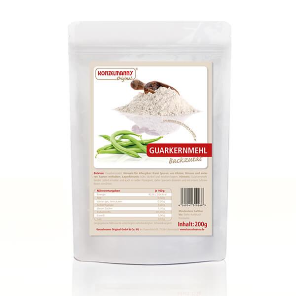 Konzelmanns Guarkernmehl 200 g Beutel. Hochwertiges, ballaststoffreiches Mehl mit kaum Kohlenhydraten. Low Carb! Perfekt kombinierbar!