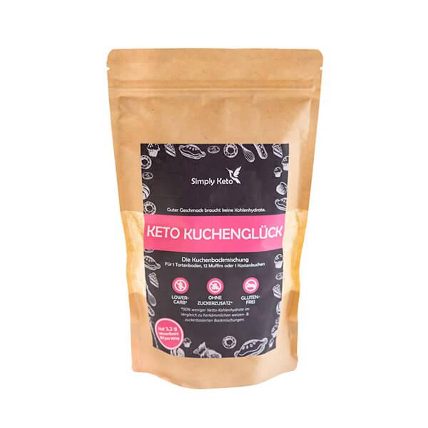 Simply Keto Kuchenglück Backmischung 360 g Beutel. Glutenfreie, sojafreie Backmischung für köstliche Speisen. Mit Erythrit gesüßt. Ohne Zuckerzusatz.
