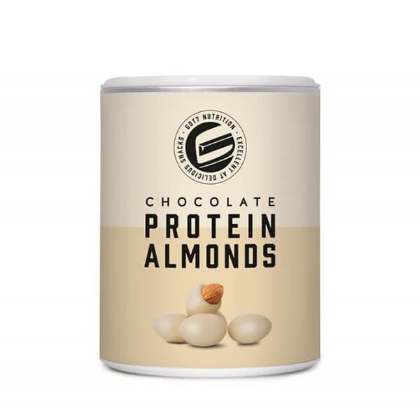 GOT7 Protein Chocolate Almonds schokolierte Mandeln weiße Schokolade 85 g Dose. Köstliche Proteinschokolade mit erntefrischen Mandeln. Ideal für unterwegs!