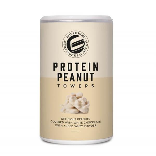 GOT7 Protein Peanut Towers schokolierte Erdnüsse Erdnussberge weiße Schokolade 85 g Dose. Köstliche, knackige Erdnüsse umhüllt mit zarter Proteinschoklade.