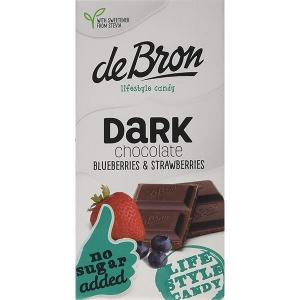 De Bron Low Carb Schokolade Zartbitter Erdbeer-Blaubeer ohne Zuckerzusatz 85 g Tafel. Köstliche Zartbitterschokolade mit Erdbeeren und Blaubeeren. Low Carb.