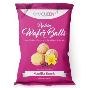 GymQueen Protein Wafer Balls Snack Waffelbällchen mit Proteinfüllung 75 g Vanille. Köstlicher Proteinsnack für unterwegs. Hoher Proteingehalt von 20%.
