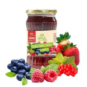 """LCW Gourmet Fruchtaufstrich """"4 Frucht"""" 340 g. Köstlicher Aufstrich aus hochwertigen Früchten. Nur 1,9 g Zucker pro Portion."""