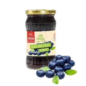 """LCW Gourmet Fruchtaufstrich """"Blaubeere"""" 340 g. Köstlicher Aufstrich aus hochwertigen Früchten. Nur 1,9 g Zucker pro Portion."""