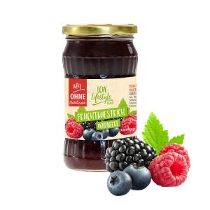 """LCW Gourmet Fruchtaufstrich """"Wildbeere"""" 340 g. Köstlicher Aufstrich aus hochwertigen Früchten. Nur 1,9 g Zucker pro Portion."""