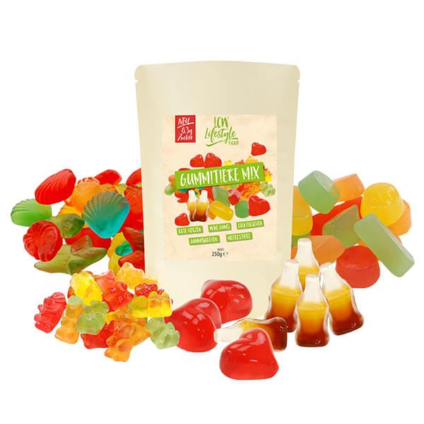 LCW zuckerfreie Gummitiere Mix bunte Mischung 250 g Beutel. Herzhafte Süßigkeit für unterwegs oder zwischendurch. Perfekte zuckerfreie Gummibonbons.