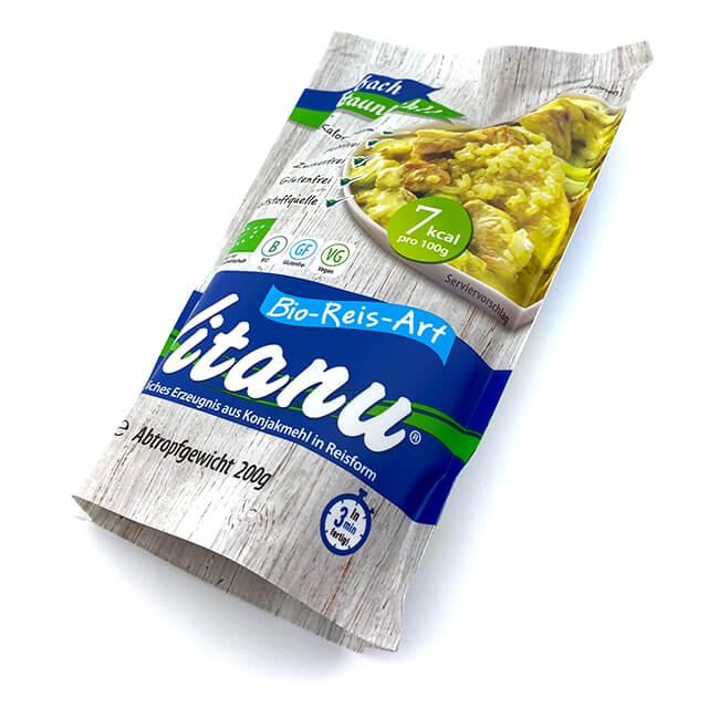 Vitanu Bio Reis glutenfrei und kalorienarm. Nur 7 kcal / 100 g. Ohne Zucker, beliebt bei Diabetikern