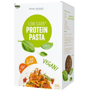 Body Attack Protein Pasta vegan 250 g ➤ Vegane Proteinnudeln kaufen ✓15 g Protein ✓nur 1,9 g Kohlenhydrate ✓5 Portionen Low Carb Nudeln / Protein Nudeln.